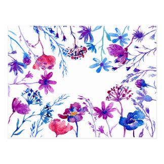 Watercolor Purple Flower Border Postcard