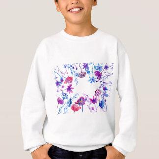 Watercolor Purple Flower Border Sweatshirt