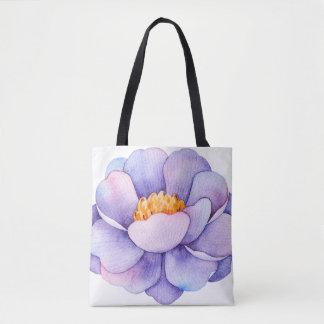 Watercolor Purple Flower Tote Bag
