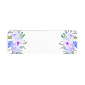 watercolor purple flowers return address label
