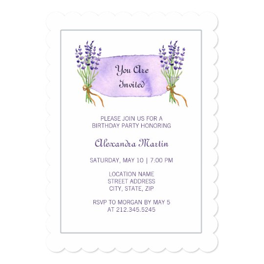 Watercolor Purple French Lavender Flowers Birthday Card