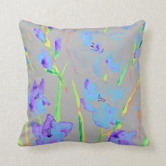 Watercolor Purple gladiolus Cushion
