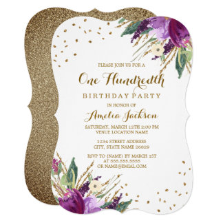 Watercolor Purple Gold Flower 100th Birthday Party Card