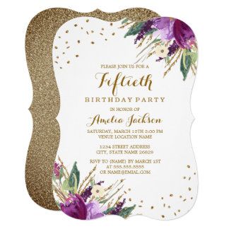 Watercolor Purple Gold Flower 50th Birthday Party Card