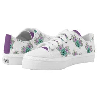 Watercolor Purple Green Floral Succulent Low-Top Sneakers