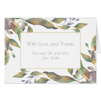 Watercolor Purple Green Gold Leaves Thank You 2 Card