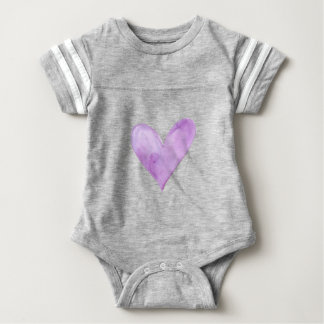 Watercolor Purple Heart, valentine heart Baby Bodysuit
