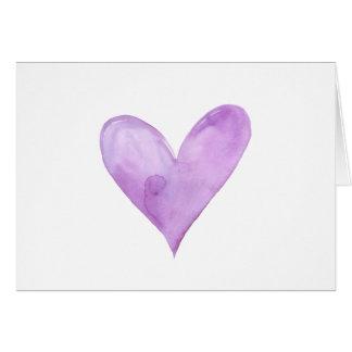 Watercolor Purple Heart, valentine heart Card