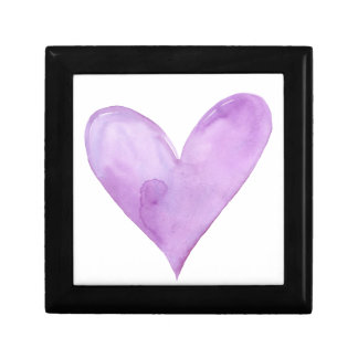 Watercolor Purple Heart, valentine heart Gift Box