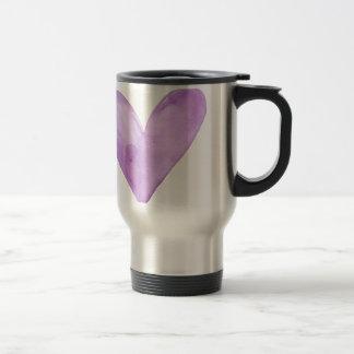 Watercolor Purple Heart, valentine heart Travel Mug