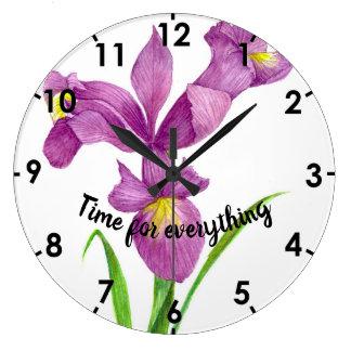 Watercolor Purple Iris Botanical Floral Art Large Clock