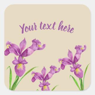 Watercolor Purple Iris Botanical Floral Art Square Sticker