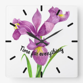 Watercolor Purple Iris Botanical Floral Art Square Wall Clock