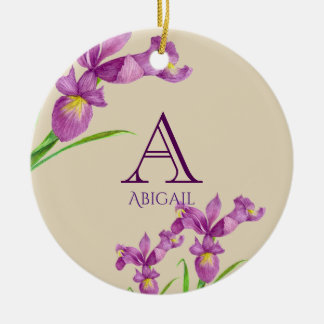 Watercolor Purple Iris Botanical Floral Monogram Ceramic Ornament