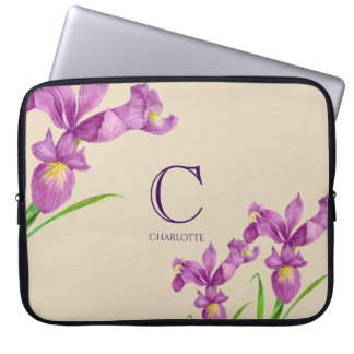 Watercolor Purple Iris Botanical Floral Monogram Laptop Sleeve