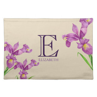 Watercolor Purple Iris Botanical Floral Monogram Placemat