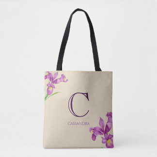 Watercolor Purple Iris Botanical Floral Monogram Tote Bag