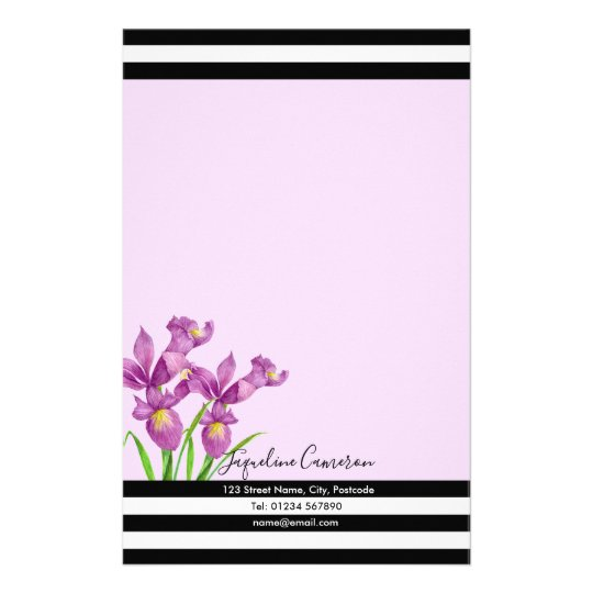 Watercolor Purple Iris Botanical Illustration Stationery