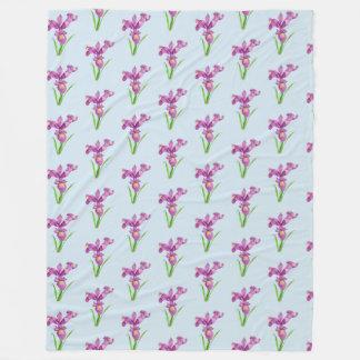 Watercolor Purple Iris Floral Art Fleece Blanket