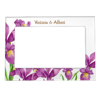 Watercolor Purple Iris Floral Art Magnetic Frame
