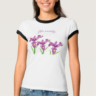 Watercolor Purple Iris Floral Art T-Shirt