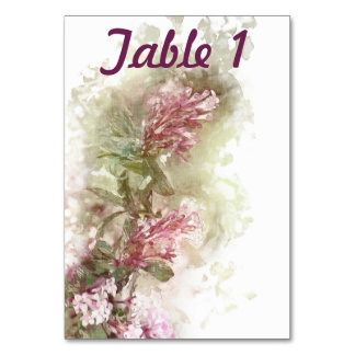 Watercolor Purple Jasmine Wedding Reception Table Table Cards