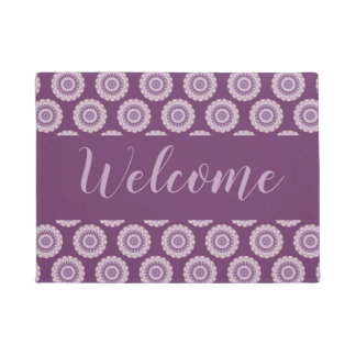 Watercolor Purple Lavender Blue Mandala Circles Doormat