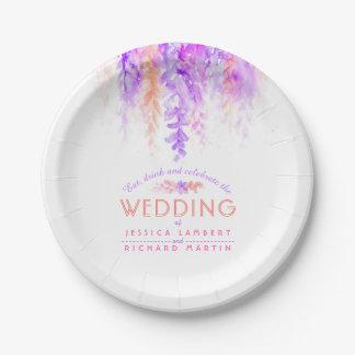 Watercolor purple orange custom wedding plates
