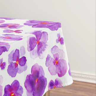Watercolor purple pansy floral flower tablecloth