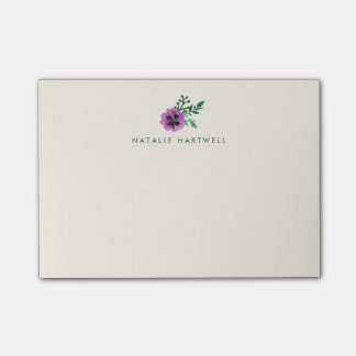 Watercolor Purple Pansy Personalized Ivory Post-it Notes