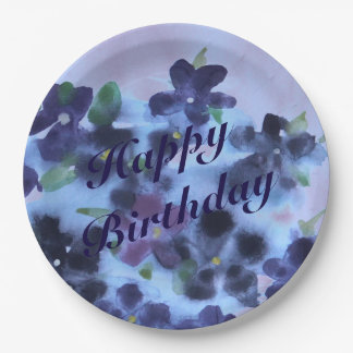 Watercolor Purple Paper Plates 9 Inch Paper Plate