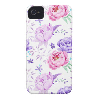 Watercolor Purple Peony Pattern iPhone 4 Covers
