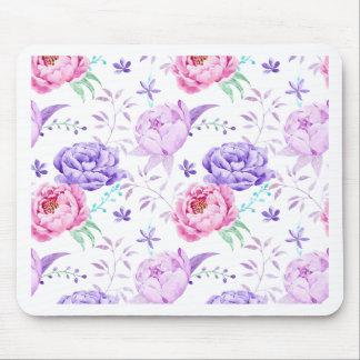 Watercolor Purple Peony Pattern Mouse Pad