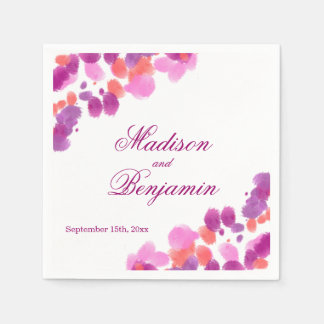 Watercolor Purple Pink Coral Wedding Napkins Paper Napkin