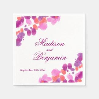 Watercolor Purple Pink Coral Wedding Napkins Paper Napkin