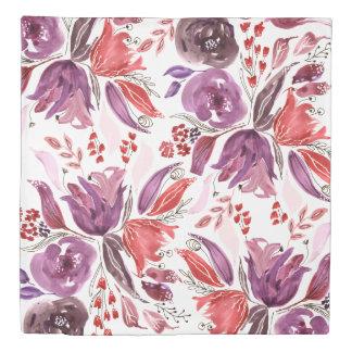 Watercolor Purple + Pink Floral Duvet | Queen Size