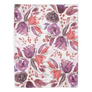 Watercolor Purple + Pink Floral Duvet | Twin Size