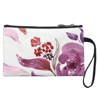 Watercolor Purple + Pink Floral Mini Clutch Wristlet Clutches