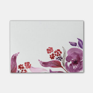 Watercolor Purple + Pink Floral Post-It Notes