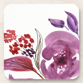 Watercolor Purple + Pink Floral Set of 6 Coasters