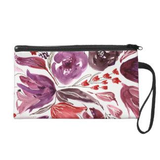 Watercolor Purple + Pink Floral Wrist Bag