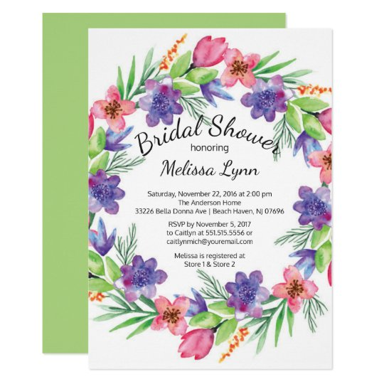 Watercolor Purple & Pink Flowers Bridal Shower Card