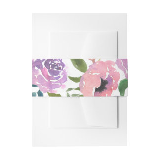 Watercolor Purple Pink Flowers Chic Invitation Belly Band