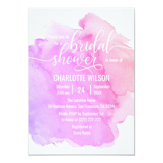 Watercolor Purple Pink Peach Wedding Bridal Shower Card