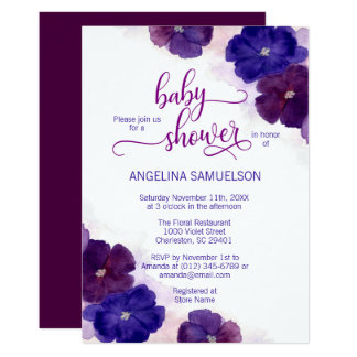 Watercolor Purple Plum Blue Floral BABY SHOWER Card