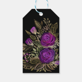 Watercolor Purple roses Gift Tags