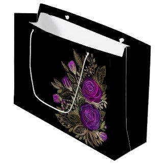 Watercolor Purple roses Large Gift Bag