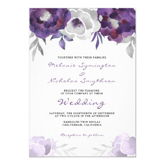 Watercolor Purple Silver Floral wedding 3963 Card