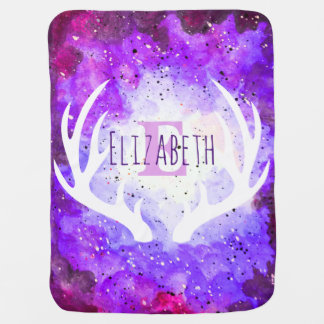 Watercolor Purple Space Nebula White Deer Antlers Baby Blanket