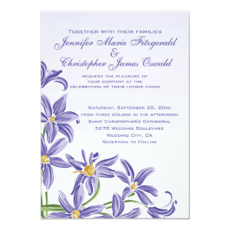 "Watercolor Purple Spring Flowers Wedding 5"" X 7"" Invitation Card"